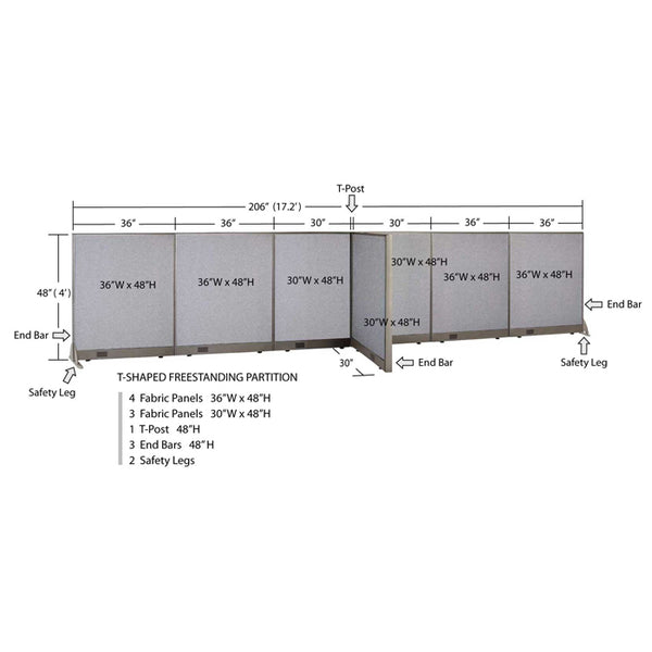 GOF Office T-Shaped Partition 30D x 204W x 48H - Kainosbuy.com