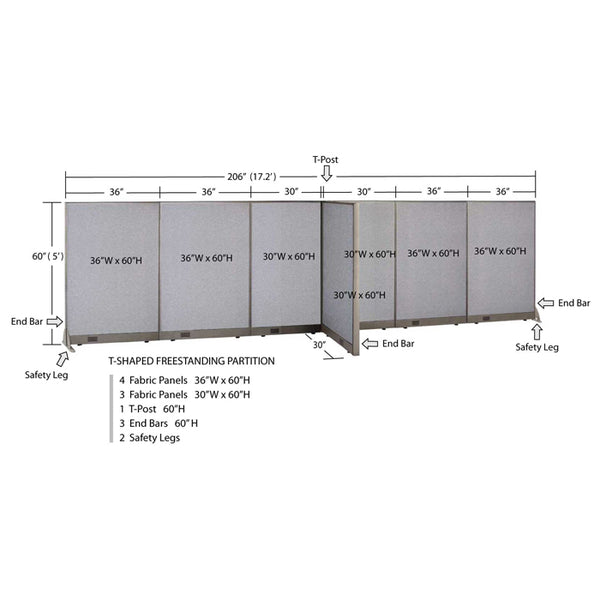 GOF Office T-Shaped Partition 30D x 204W x 60H - Kainosbuy.com