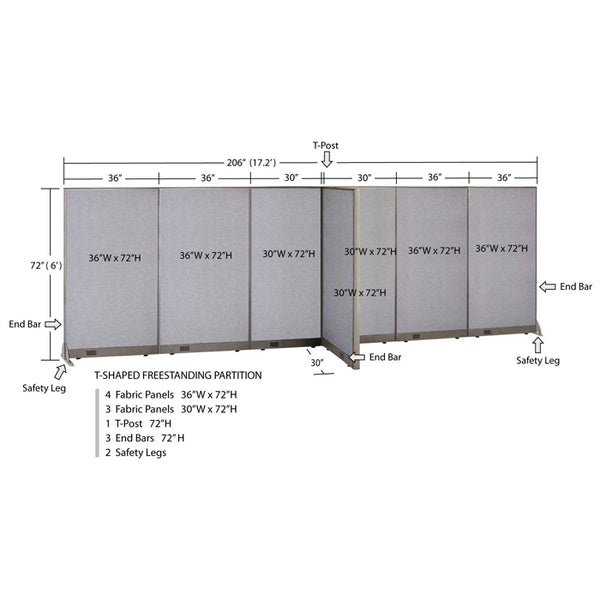 GOF Office T-Shaped Partition 30D x 204W x 72H - Kainosbuy.com