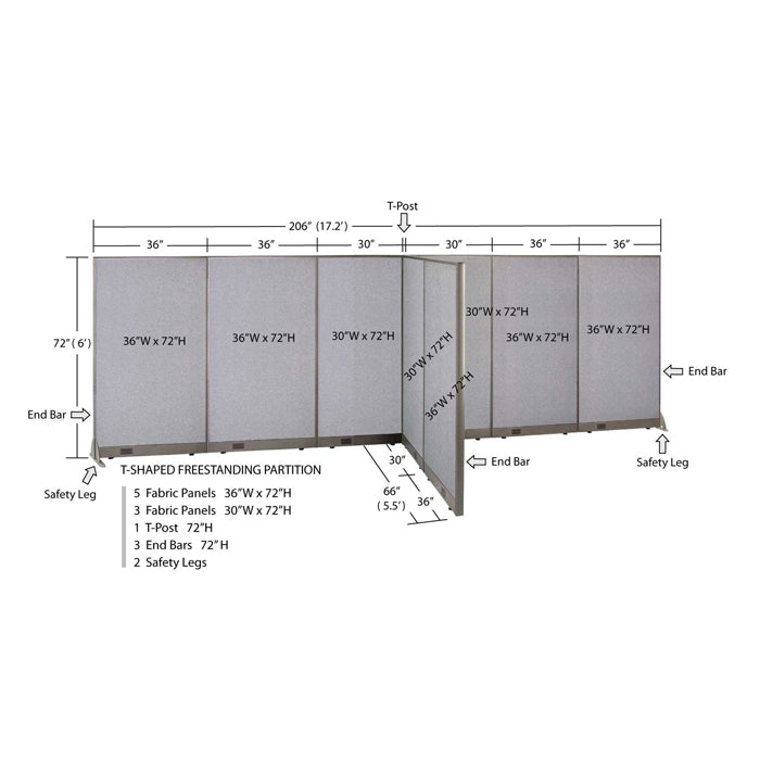 GOF Office T-Shaped Partition 66D x 204W x 72H - Kainosbuy.com