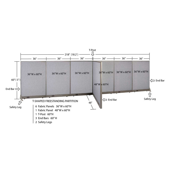 GOF Office T-Shaped Partition 48D x 216W x 60H - Kainosbuy.com