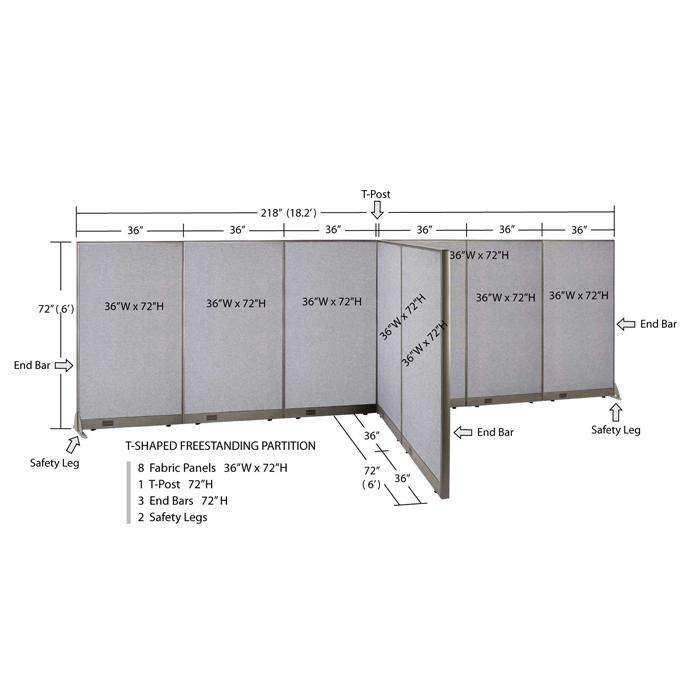 GOF Office T-Shaped Partition 72D x 216W x 72H - Kainosbuy.com
