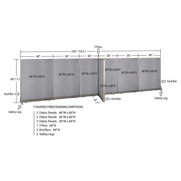 GOF Office T-Shaped Partition 30D x 228W x 60H - Kainosbuy.com