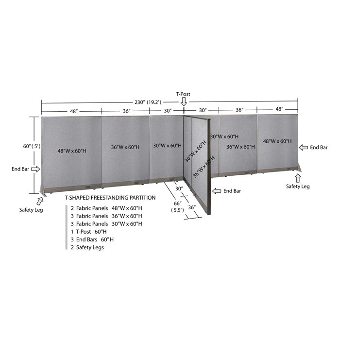 GOF Office T-Shaped Partition 66D x 228W x 60H - Kainosbuy.com