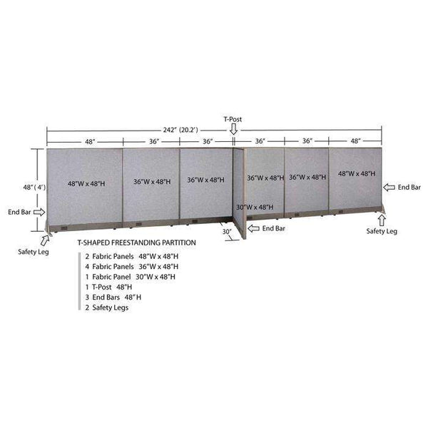GOF Office T-Shaped Partition 30D x 240W x 48H - Kainosbuy.com