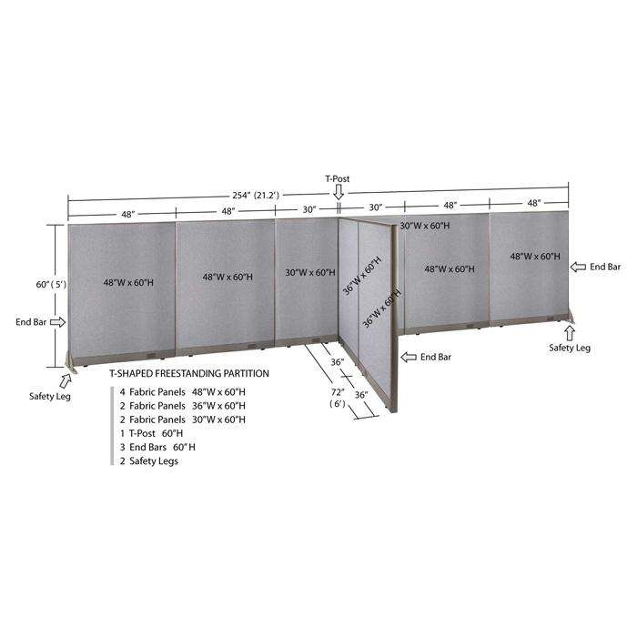 GOF Office T-Shaped Partition 72D x 252W x 60H - Kainosbuy.com