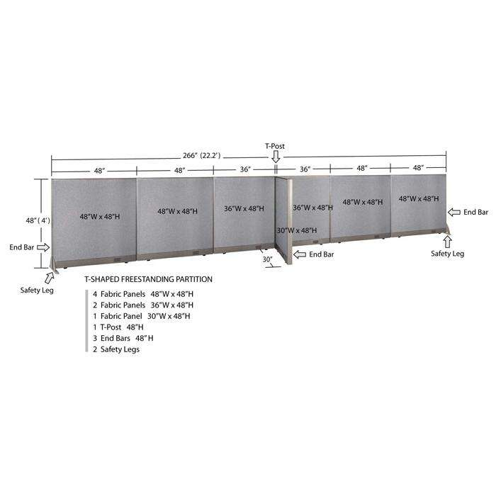 GOF Office T-Shaped Partition 30D x 264W x 48H - Kainosbuy.com