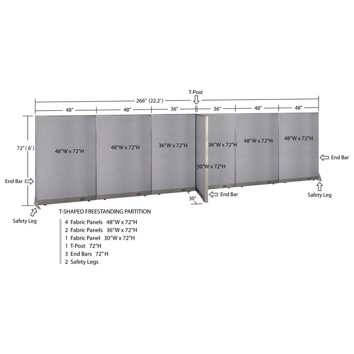 GOF Office T-Shaped Partition 30D x 264W x 72H - Kainosbuy.com