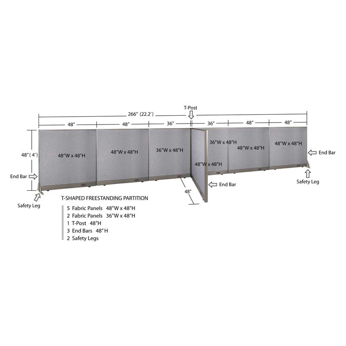 "GOF Office T-Shaped Partition 48""H - Kainosbuy.com"