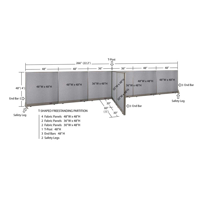 GOF Office T-Shaped Partition 60D x 264W x 48H - Kainosbuy.com
