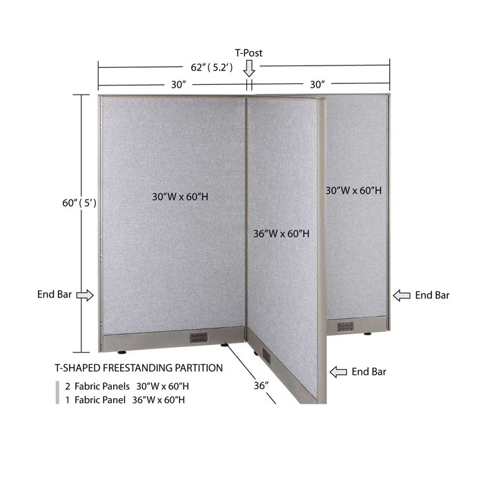 GOF Office T-Shaped Partition 36D x 60W x 60H - Kainosbuy.com