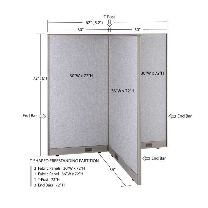 GOF Office T-Shaped Partition 36D x 60W x 72H - Kainosbuy.com