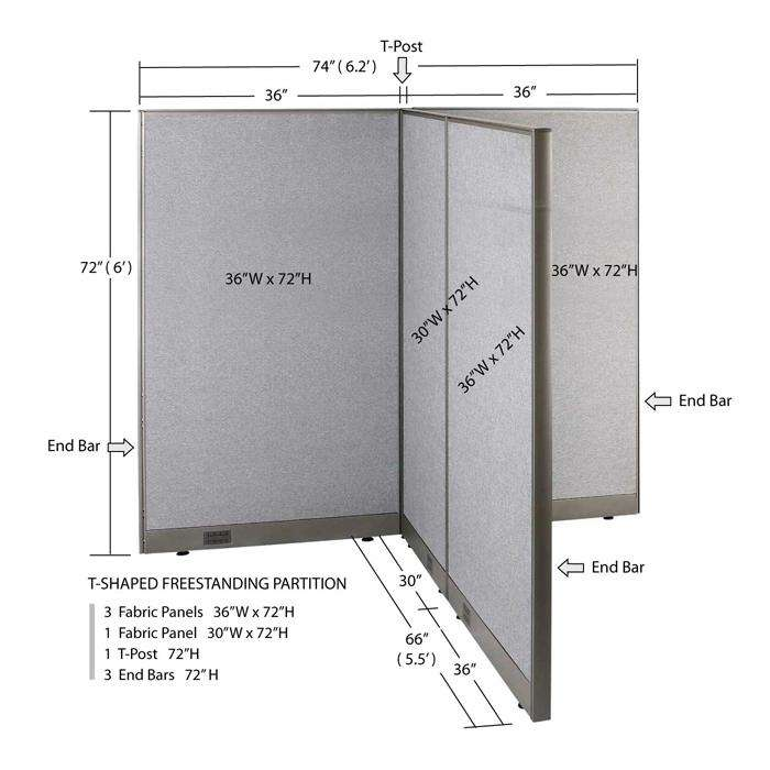 GOF Office T-Shaped Partition 66D x 72W x 72H - Kainosbuy.com