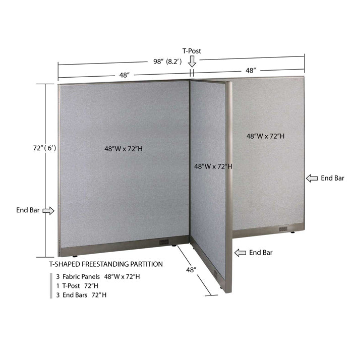 GOF Office T-Shaped Partition 48D x 96W x 72H - Kainosbuy.com