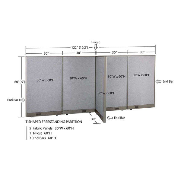 GOF Office T-Shaped Partition 30D x 120W x 60H - Kainosbuy.com