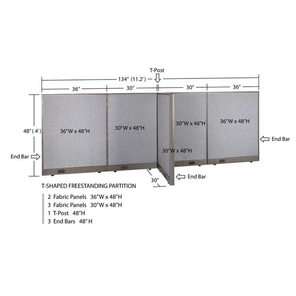 GOF Office T-Shaped Partition 30D x 132W x 48H - Kainosbuy.com