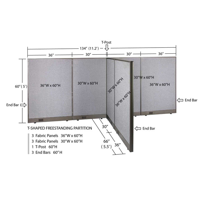 GOF Office T-Shaped Partition 66D x 132W x 60H - Kainosbuy.com