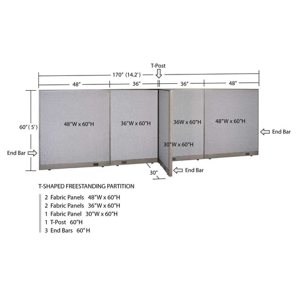 GOF Office T-Shaped Partition 30D x 168W x 60H - Kainosbuy.com