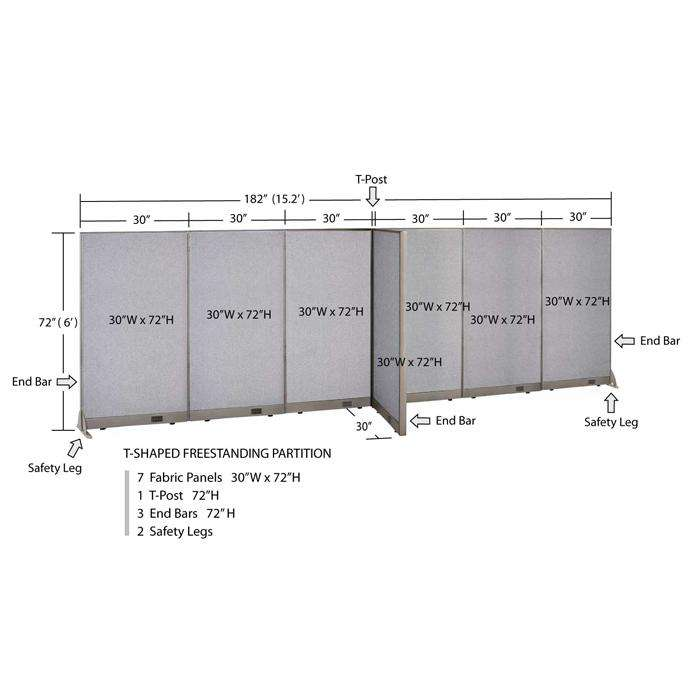 GOF Office T-Shaped Partition 30D x 180W x 72H - Kainosbuy.com