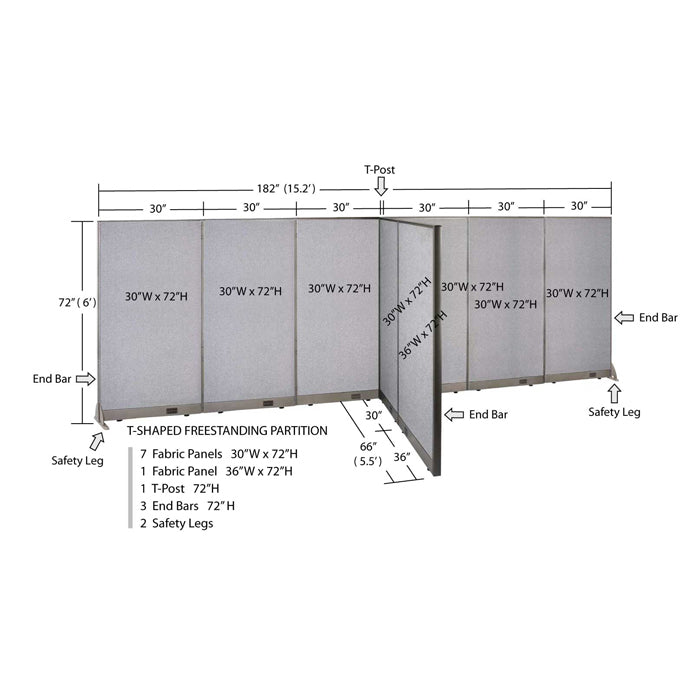 GOF Office T-Shaped Partition 66D x 180W x 72H - Kainosbuy.com