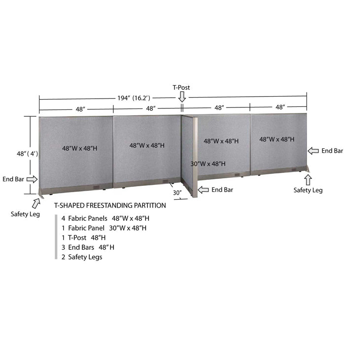 GOF Office T-Shaped Partition 30D x 192W x 48H - Kainosbuy.com