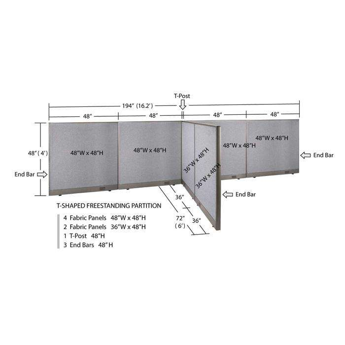 GOF Office T-Shaped Partition 72D x 192W x 48H - Kainosbuy.com
