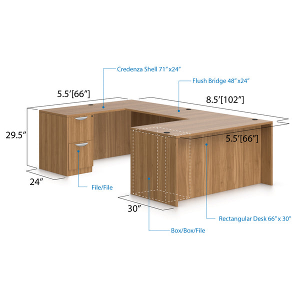 U66B - 5.5' x 8.5' U-Shape Workstation(Rectangular Desk with B/B/F and F/F Pedestal) - Kainosbuy.com