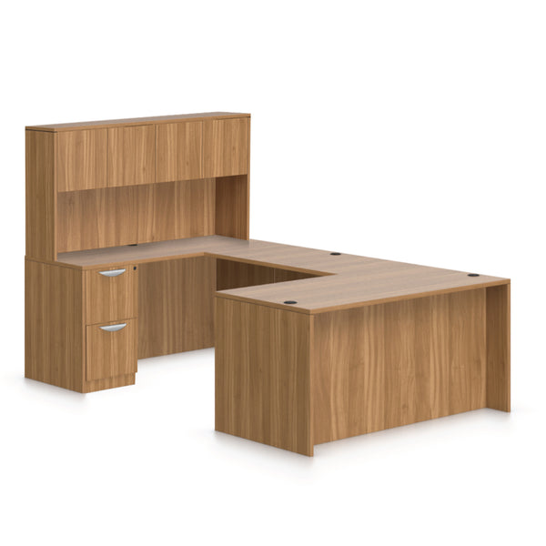 U66B - 5.5' x 8.5' U-Shape Workstation(Rectangular Desk with B/B/F and F/F Pedestal) Hutch Added - Kainosbuy.com
