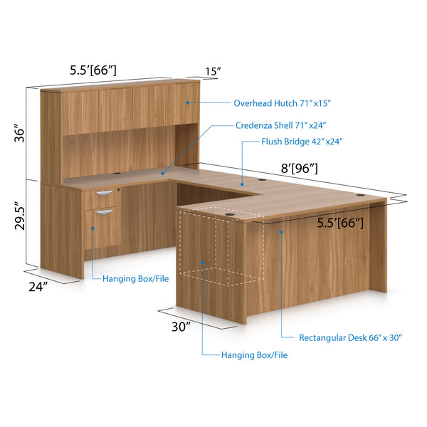 U66A - 5.5' x 8' U-Shape Workstation(Rectangular Desk with Hanging B/F Pedestal) Hutch Added - Kainosbuy.com