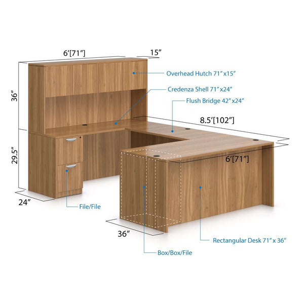 U71B - 6' x 8.5' U-Shape Workstation(Rectangular Desk with B/B/F and F/F Pedestal) Hutch Added - Kainosbuy.com