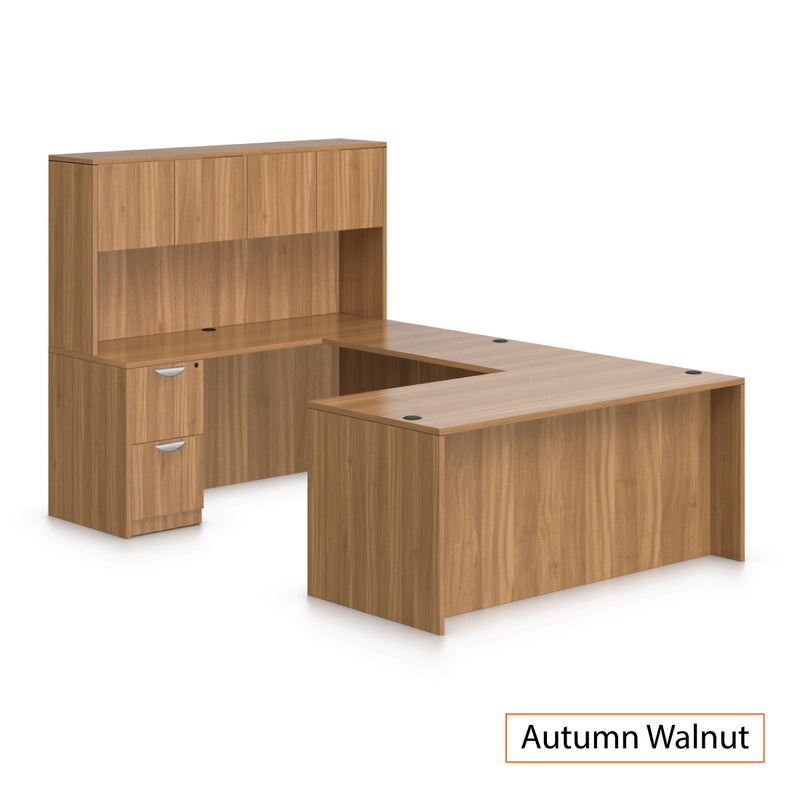 U66A - 5.5' x 8' U-Shape Workstation(Rectangular Desk with B/B/F and F/F Pedestal) Hutch Added - Kainosbuy.com