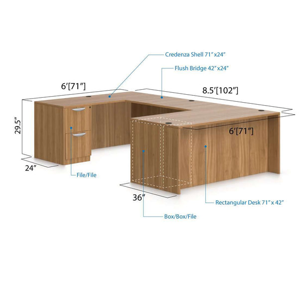 U71B - 6' x 8.5' U-Shape Workstation(Rectangular Desk with B/B/F and F/F Pedestal) - Kainosbuy.com