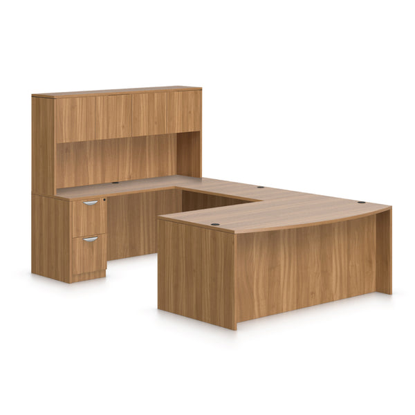 U71D - 6' x 9.5' U-Shape Workstation(Bow Front Desk with B/B/F and F/F Pedestal) Hutch Added - Kainosbuy.com