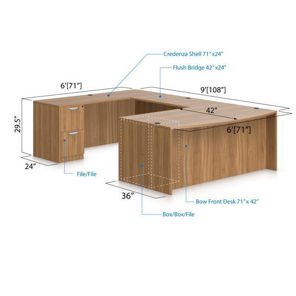 U71C - 6' x 9' U-Shape Workstation(Bow front Desk with B/B/F and F/F Pedestal) - Kainosbuy.com