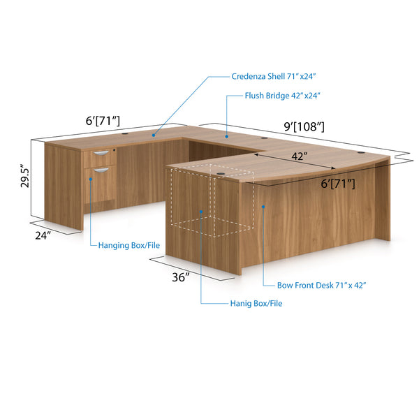 U71C - 6' x 9' U-Shape Workstation(Bow front Desk with Hanging B/F Pedestal) - Kainosbuy.com