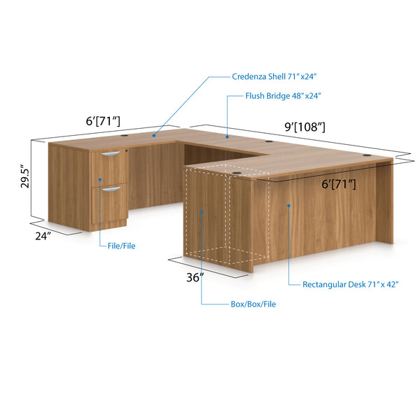 U71C - 6' x 9' U-Shape Workstation(Rectangular Desk with B/B/F and F/F Pedestal) - Kainosbuy.com