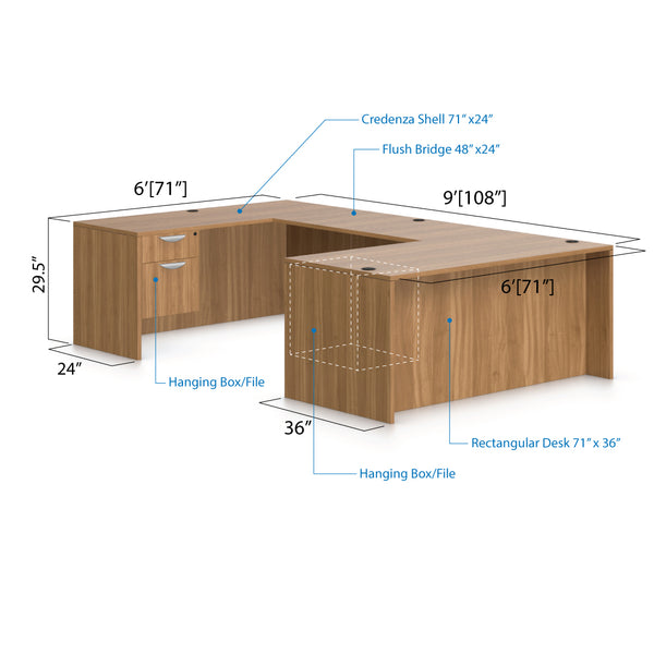 U71C - 6' x 9' U-Shape Workstation(Rectangular Desk with Hanging B/F Pedestal) - Kainosbuy.com