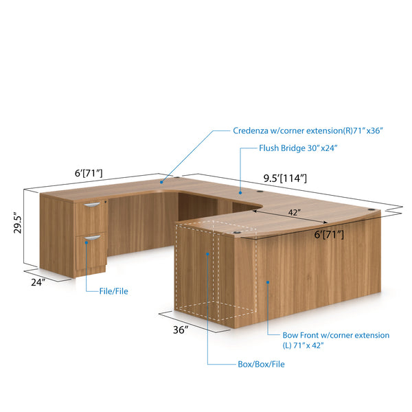 U71D - 6' x 9.5' U-Shape Workstation(Bow Front Corner Extension Desk with B/B/F and F/F Pedestal) - Kainosbuy.com