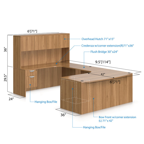 U71D - 6' x 9.5' U-Shape Workstation(Bow Front Corner Extension Desk with Hanging B/F Pedestal) Hutch Added - Kainosbuy.com