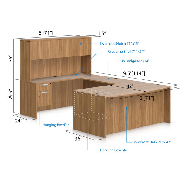 U71D - 6' x 9.5' U-Shape Workstation(Bow Front Desk with Hanging B/F Pedestal) Hutch Added - Kainosbuy.com