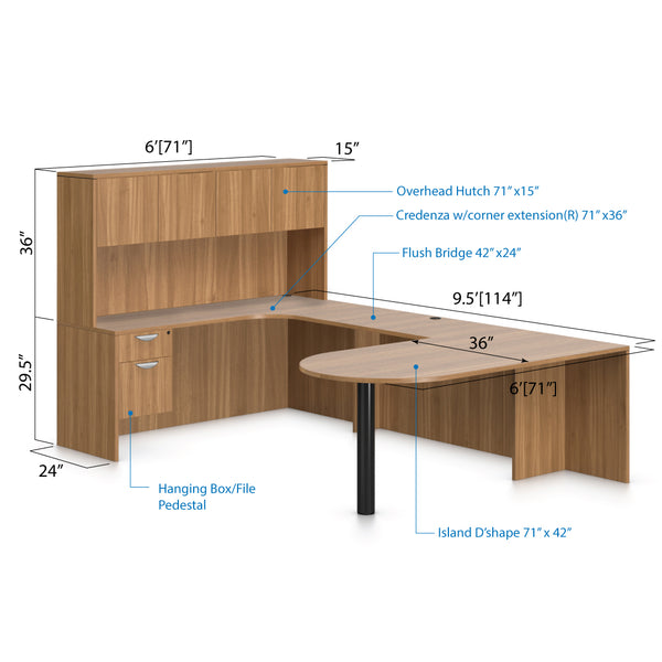 U71D - 6' x 9.5' U-Shape Workstation(Island D with Hanging B/F Pedestal) Hutch Added - Kainosbuy.com