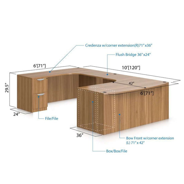 U71E - 6' x 10' U-Shape Workstation(Bow Front Corner Extension Desk with B/B/F and F/F Pedestal) - Kainosbuy.com