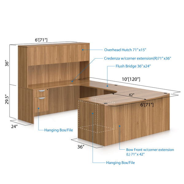 U71E - 6' x 10' U-Shape Workstation(Bow Front Corner Extension Desk with Hanging B/F Pedestal) Hutch Added - Kainosbuy.com