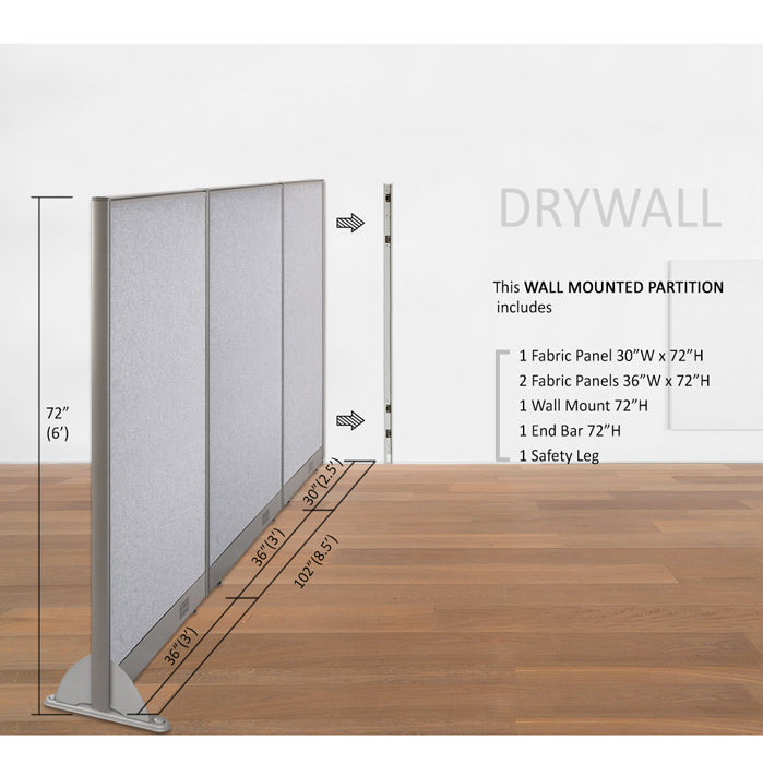 "GOF Office Wallmounted Partition 72""H - Kainosbuy.com"