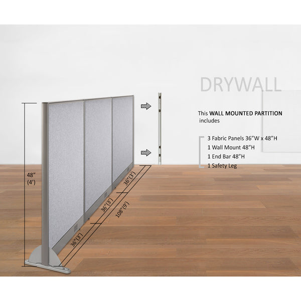 GOF Wallmounted Office Partition<br>108W x 48H - Kainosbuy.com