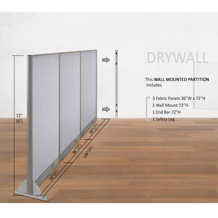 GOF Wallmounted Office Partition<BR>108W x 72H - Kainosbuy.com