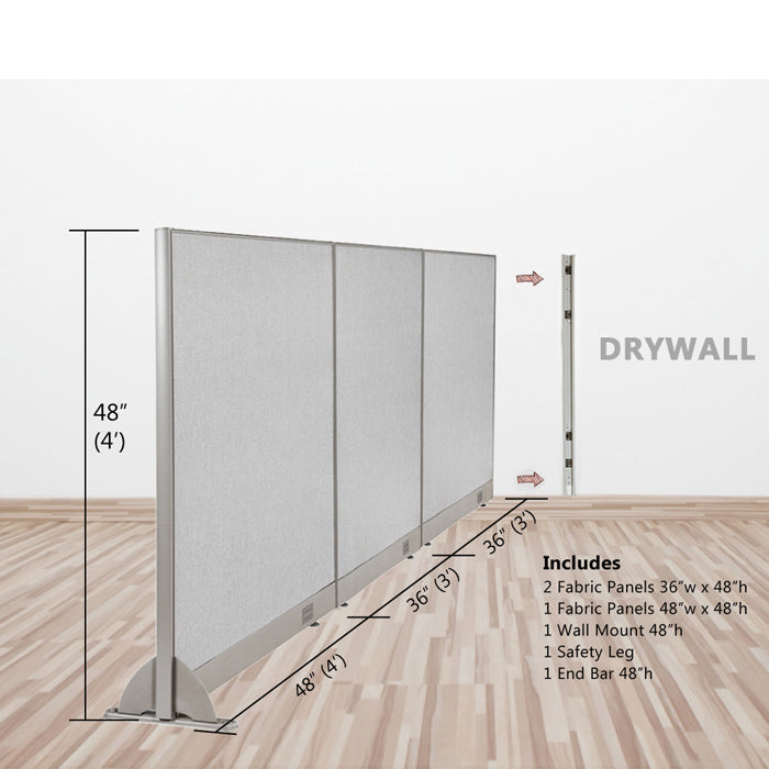 GOF Wallmounted Office Partition<BR>120W x 48H - Kainosbuy.com
