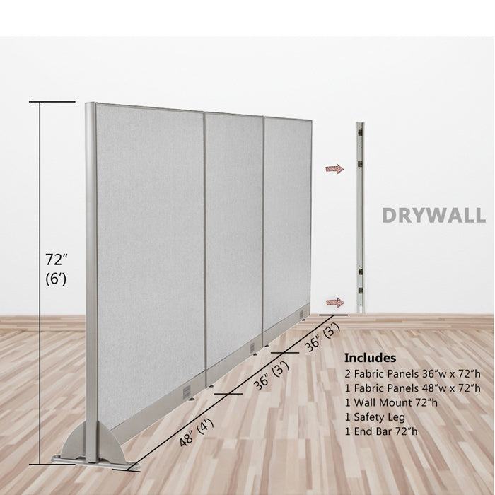 GOF Wallmounted Office Partition<BR>120W x 72H - Kainosbuy.com