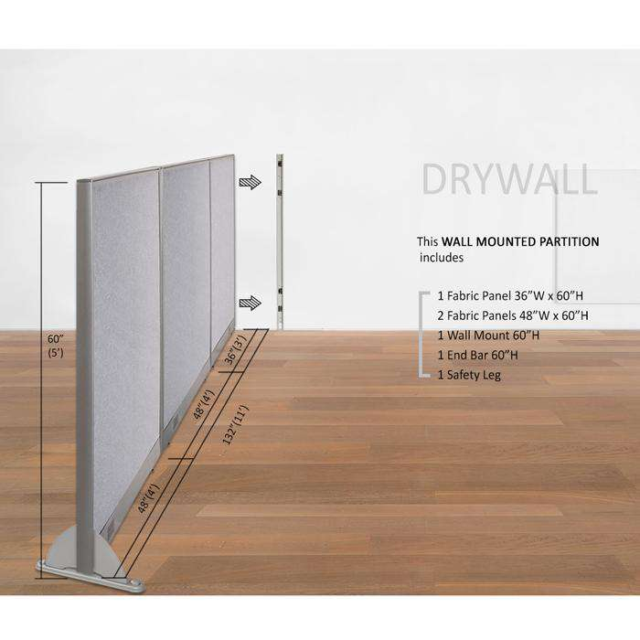 GOF Wallmounted Office Partition  132W x 60H - Kainosbuy.com