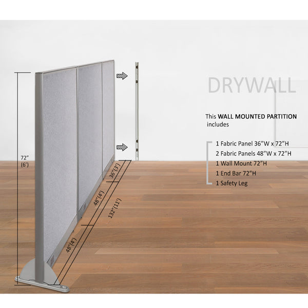 GOF Wallmounted Office Partition  132W x 72H - Kainosbuy.com